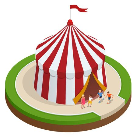 Isometric Circus tent and children. Vector illustration. Illustration