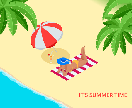 woman lying down: Beach summer vacation. Woman relaxing sunbathing on white sand and turquoise ocean. Isometric tourist girl lying down on towel by sea wearing bikini and sun hat enjoying summer travel holidays.