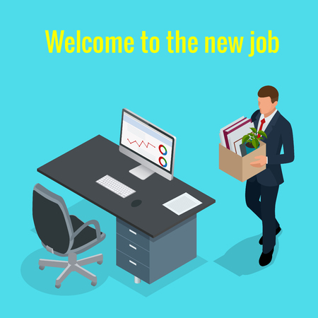 unoccupied: New Job concept. People Isometric vector 3D office workers and subordinates isolated. Man going to the new job with box. Welcome to the new job business concept. Illustration