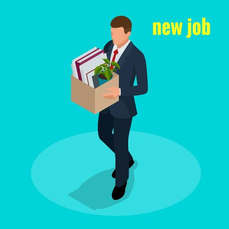 New Job concept. People Isometric vector 3D office workers and subordinates isolated. Man going to the new job with box. Welcome to the new job business concept. Illustration