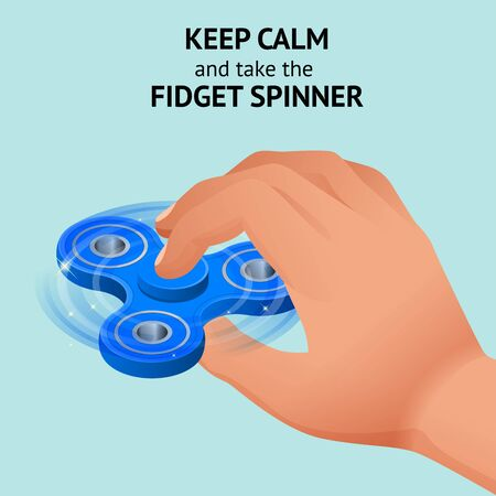 Isometric 3d vector hand with a fidget spinner or hand spinner. Fidget toy for increased focus, stress relief. Stock Photo