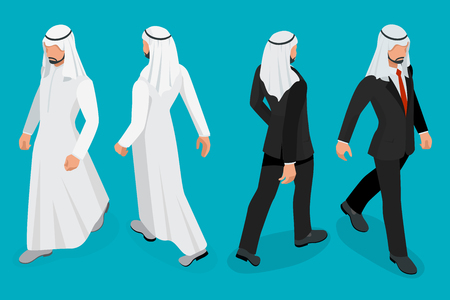 own: Set of Businessman Arab Man on white background. Isometric character poses. Cartoon people. Create your own design for vector