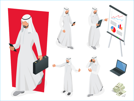 Set of Businessman Arab Man on white background. Isometric character poses. Cartoon people. Create your own design for vector