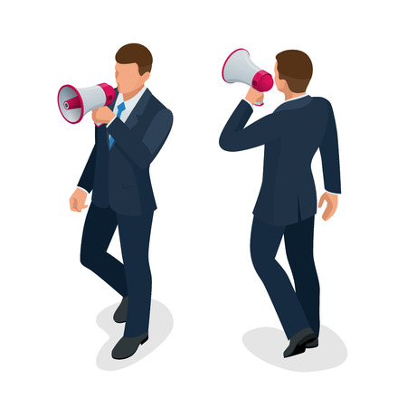 loud speaker: Isometric Man with loudspeaker flat vector illustration. Speaker or loudspeaker