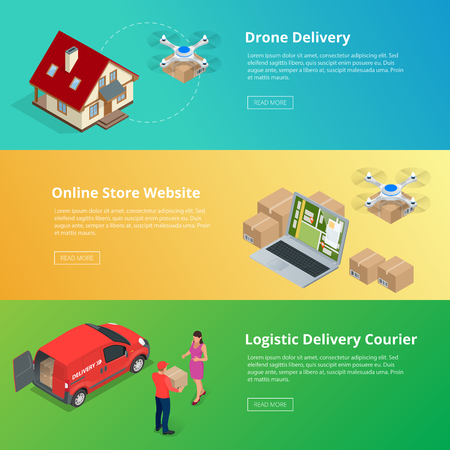 shipments: Isometric Drone Fast Delivery of goods in the city. Technological shipment innovation concept. Autonomous logistics.