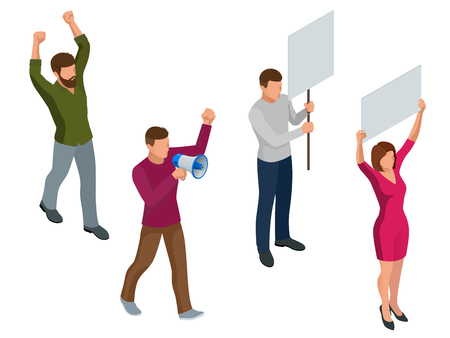 Protest Isometric People with placard and megaphones on demonstration. Demonstration, protest, strike concept.
