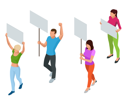 riot: Protest Isometric People with placard and megaphones on demonstration. Demonstration, protest, strike concept.