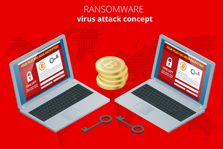trojan: Ransomware, malicious software that blocks access to the victims data. Hacker attacks network. Isometric vector illustration. Internet crime concept. E-mail spam viruses bank account hacking.