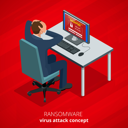 Ransomware, malicious software that blocks access to the victims data. Hacker attacks network. Isometric vector illustration. Internet crime concept. E-mail spam viruses bank account hacking.