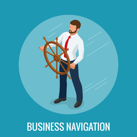 Isometric Business navigation concept. Businessman at the helm of rides on the arrow. Good direction. Control and right direction vector illustration.