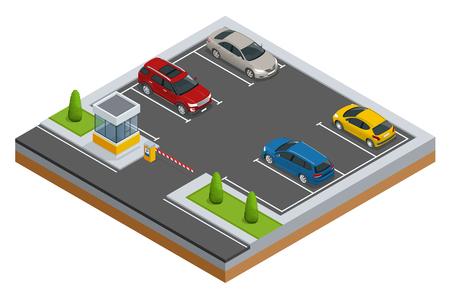 Voitures isométriques dans le parking ou le parking. Ville vecteur de stationnement bannière web isométrique vecteur plat style. Infrastructures urbaines et boom de l'automobile.