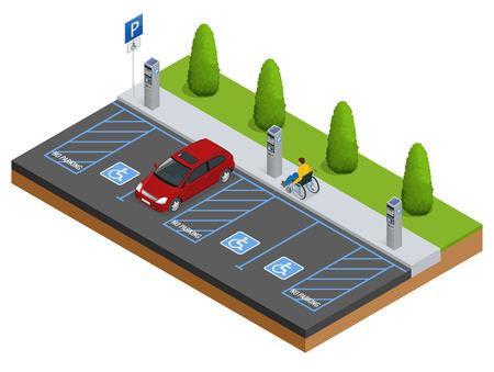 駐車場や障害者用駐車スペースの等尺性の車。駐車場や駐車場で等尺性の車。都市駐車場ベクター web バナー等尺性平面ベクトル スタイル。