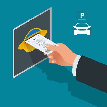 Mans hand met parkeerkaarten. Isometrisch Flat illustratie vector pictogram voor web. Stedelijk vervoer. Parkeerplaats. Toegankelijkheid