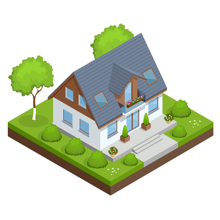 A compact eco house, with solar panels on roof, with an attic, a bay window in the day area and a study on the first floor. Isometric private house vector illustration.