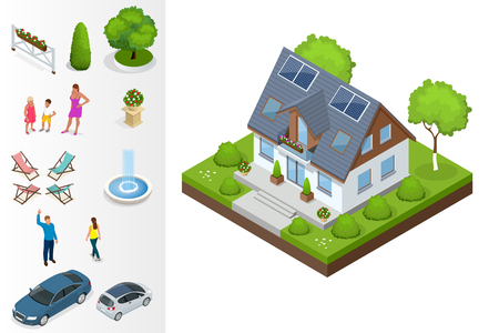 first house: A compact eco house, with solar panels on roof, with an attic, a bay window in the day area and a study on the first floor. Isometric private house vector illustration.