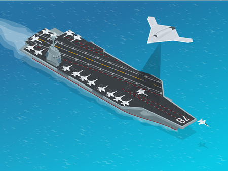 Isometric Long Range Strike-Bomber. Aircraft military mission isolated on background. Aircraft assigned to the nuclear-powered aircraft carrier CVN . Military sea transport.