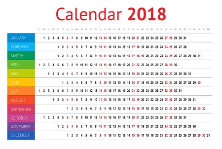 personal data assistant: 2018 calendar. Print Template. Week Starts Sunday. Portrait Orientation. Set of 12 Months. Vector Planner for 2018 Year.
