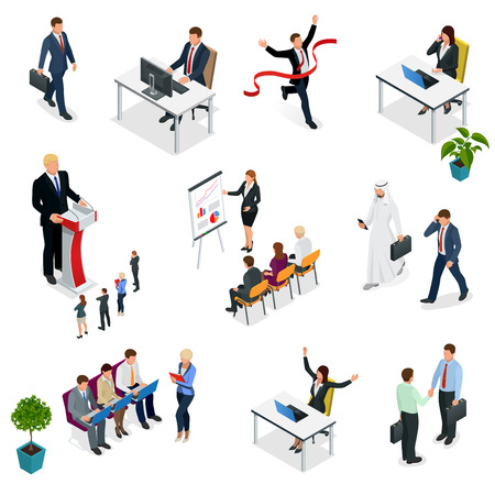 Isometric Business negotiations. Trendy isometric young creative people. Recruitment process to set isometric business employees on a white background. Vector illustration.