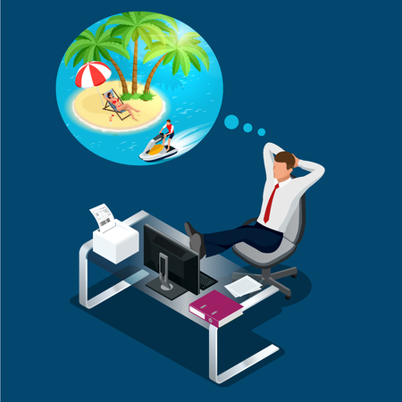 Isometric office worker or businessman in the workplace dreams of rest, vacation and travel. A break in the time of work. Flat illustration of man dreaming about summer vacation on the beach.
