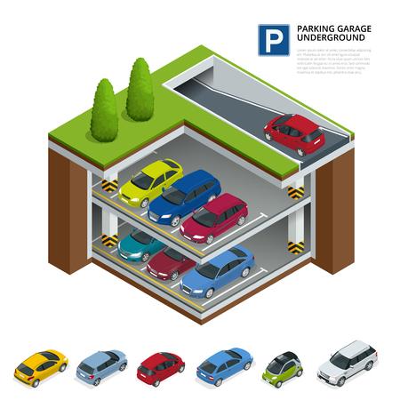 Parkeergarage ondergronds. Overdekte parkeerplaats. Stedelijke parkeervoorziening. Platte 3d isometrische vectorillustratie voor infographic. Stock Illustratie