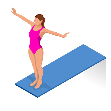 diving board: Isometric people diving into water in to the swimming pool, diver. Female swimmer, that jumping and diving into indoor sport swimming pool. Sporty woman. Illustration