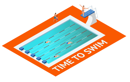 diving platform: Isometric people diving into water in to the swimming pool, diver. Female swimmer, that jumping and diving into indoor sport swimming pool. Sporty woman. Illustration