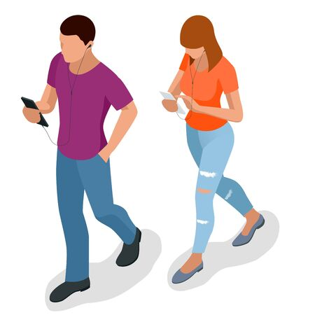 phoning: Isometric young people, teenagers and students with phone Young man phoning smart phone with messenger app. Flat illustration of people using gadgets walking Stock Photo