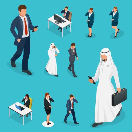 phoning: Isometric Business man and woman with phone Young man phoning smart phone with messenger app. Flat illustration of people using gadgets walking Stock Photo