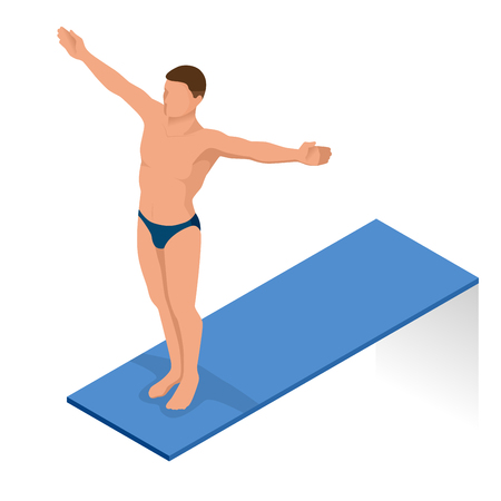 jumping into water: Isometric people diving into water in to the swimming pool, diver. Female swimmer, that jumping and diving into indoor sport swimming pool. Sporty woman. Stock Photo