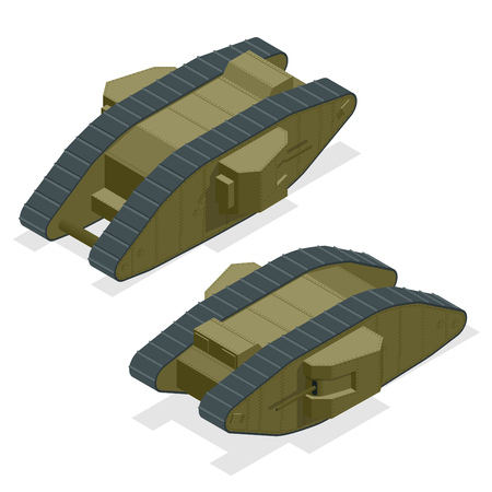 Mark I British heavy tank during the First World War The founder of the family of British diamond-shaped tanks Isometric vector war transport Armoured fighting vehicle designed for front-line combat