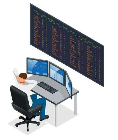 Analyzing data, graphs and reports for investment purposes Creative teamwork traders Businessmen trading stocks online Stock brokers looking at graphs, indexes and numbers on multiple computer screens Illustration