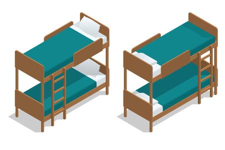 literas: Cama de dos pisos de madera del vector isométrico por separado en un fondo blanco. Sala de estar en un albergue con dos literas. Camp Cabin. Vectores