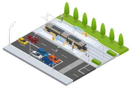 Tramway moderne sur l'arrêt et les voitures sur la route Icônes du système de transport en commun métropolitaine avec tramway, téléphérique et train de tramway moderne Idéal pour les transports infographies Transport urbain Vecteurs