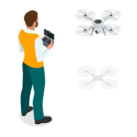 Isometric man with quadro copter.