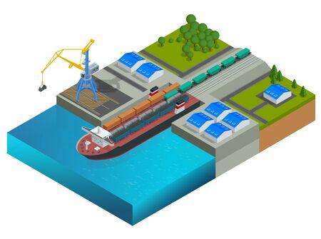Isometric railway illustration.