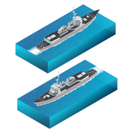 Isometric Guided missile destroyer. Vector hight quality Arleigh Burke-class guided missile destroyer. Military ship Illustration