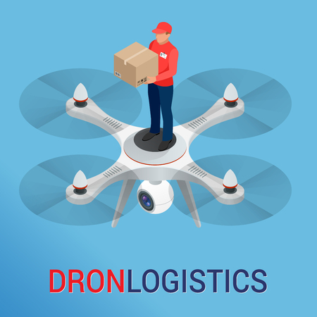 Drone logistics network Flat vector illustration Isometric Drone Fast Delivery of goods in the city. Technological shipment innovation concept. Autonomous logistics.