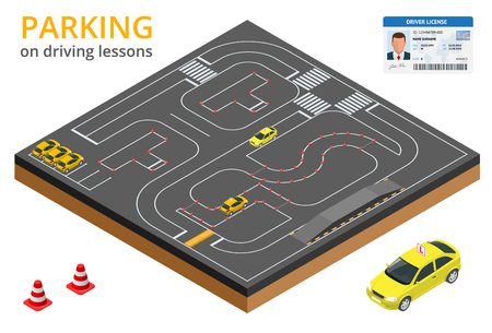 driver license: Trained in driving school concept Parking on driving lessons and test drive
