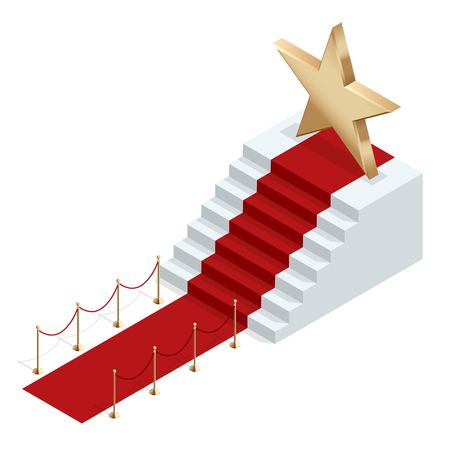 prestige: Isometric red event carpet isolated on a white background Red carpet event with white marble stairs and gold queue rope barriers posts stands realistic vector illustration