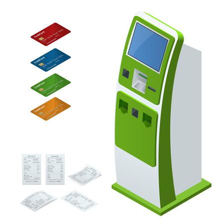 Isometrische Set-Vektor Online-Zahlungssysteme und Self-Service-Zahlungen Terminals, Debit-Kreditkarte und Cash-Quittung. NFC-Zahlungen, Zahlungsterminal, Digitaler Touchscreen, interaktives Kiosk-Konzept Standard-Bild - 83717038