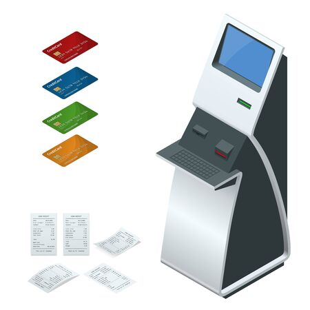 reciept: Isometric set vector online payment systems and self-service payments terminals, debit credit card and cash receipt. NFC payments, Payment terminal, Digital touch screen, interactive kiosk concept