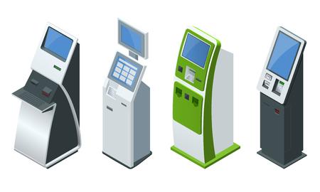 Sistemas de pago en línea de vectores isométricos y terminales de pagos de autoservicio, tarjeta de crédito y recibo de efectivo. Pagos NFC, terminal de pago, pantalla táctil digital, concepto de quiosco interactivo