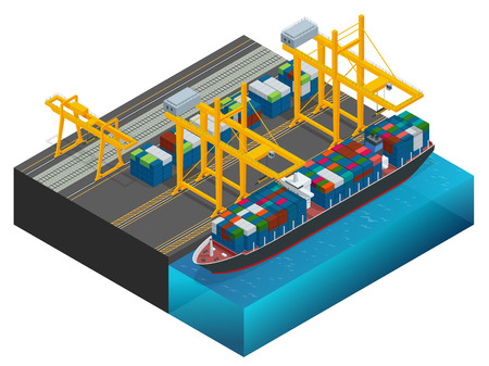 Isometric Cargo containers transshipped between transport vehicles for onward transportation Port warehouse and shipment for infographic Platform supply vessel Logistic support goods tools equipment Illustration