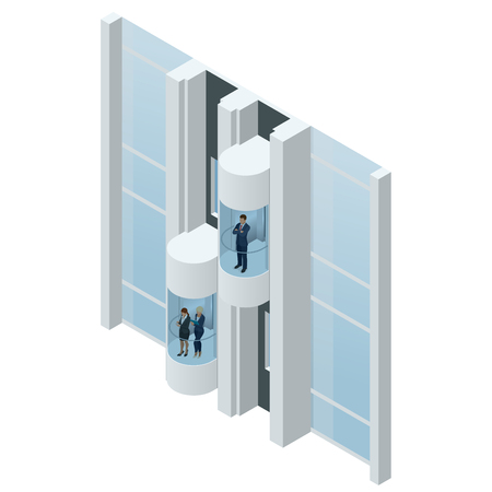 Glass futuristic cylindrical shape elevator or lift in the business center. Modern personal transportation. Isometric vector realistic illustration
