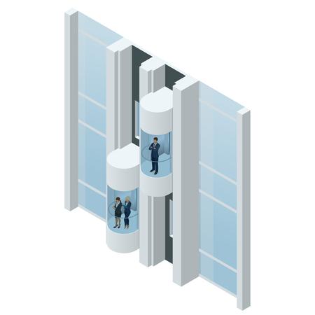 Glazen futuristische cilindrische vormlift of lift in het commerciële centrum. Modern persoonlijk transport. Isometrische vector realistische illustratie