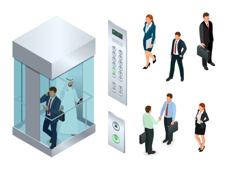 Isometrisch vectorontwerp van de lift met mensen binnen en knooppaneel. Realistische lege lift hal interieur met nauwe metalen liftdeuren