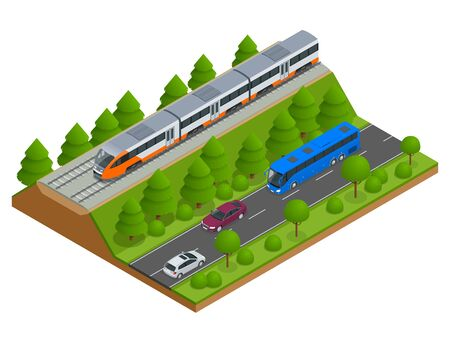 commuter: Isometric train tracks and modern train. Railroad icons. Modern high speed red commuter train. Flat 3d isometric vector illustration. For infographics and design games. Illustration