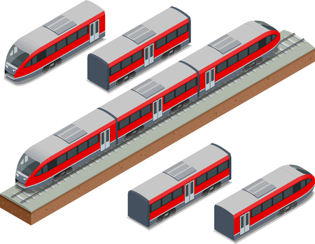 Isometric train tracks and modern high speed train Vector isometric illustration of a Fast-Train. Vehicles designed to carry large numbers of passengers. Illustration