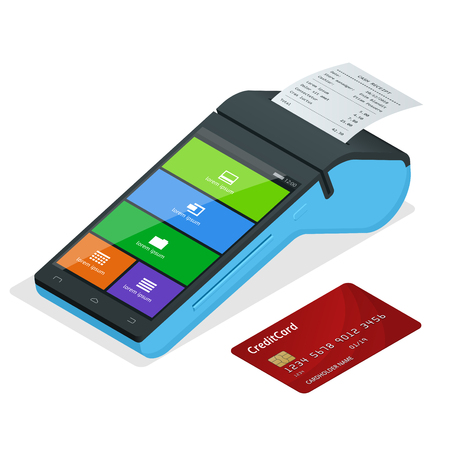 Vector payment machine and credit card. POS terminal confirms the payment by debit credit card, invoce. Isometric illustration in flat design. NFC payments concept