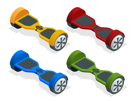 Isometric hoverboard or Gyroscooter. Set of vector illustrations. Self-balancing electric scooter. Alternative Eco Transport isolated on background Most popular gadget of the year. Active life concept Illustration